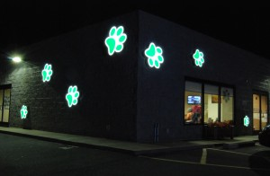 Paw prints help the customer know what type of business this is 24/7